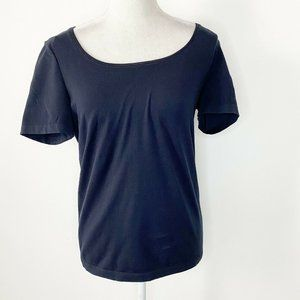 Wolford Size Large Top Navy Blue Scoop Neck Cotton